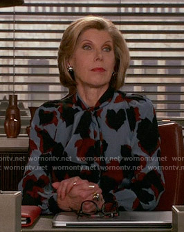 Diane's blue printed neck tie blouse on The Good Wife