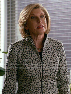 Diane's tiled print jacket on The Good Wife