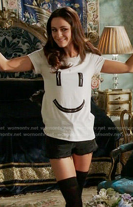 Princess Eleanor's zipped smiley face tee on The Royals