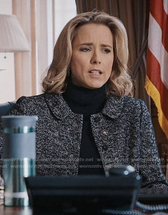 Elizabeth's tweed collared jacket on Madam Secretary