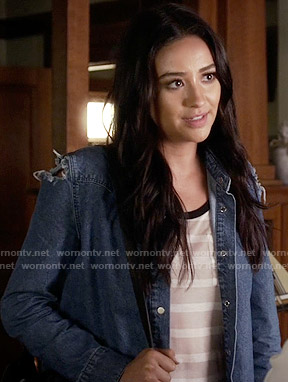 Emily's ripped denim shirt on Pretty Little Liars