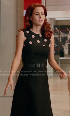 Gilda's black polka dot panel dress on iZombie