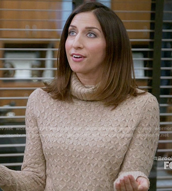 Gina's camel textured turtleneck sweater on Brooklyn Nine-Nine