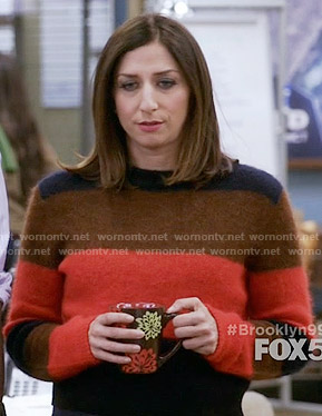 Gina's orange, brown and navy striped sweater on Brooklyn Nine-Nine