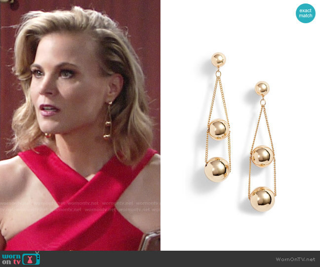 Halogen Triple Sphere Chain Drop Earrings worn by Gina Tognoni on The Young & the Restless
