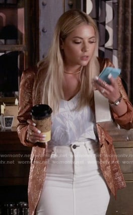 Hanna's blue leaf print top and coral glitter blazer on Pretty Little Liars
