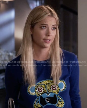 Hanna's blue monkey sweater on Pretty Little Liars
