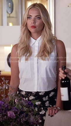 Hanna's black floral print trousers and white cropped shirt on Pretty Little Liars