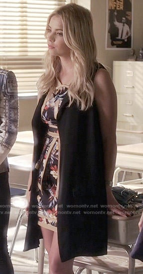 Hanna's black floral dress on Pretty Little Liars