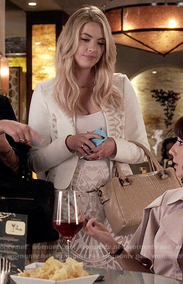Hanna's white jacket and skirt with cutouts on Pretty Little Liars