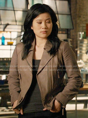 Happy's taupe leather and suede jacket on Scorpion