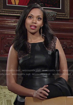 Hilary's black leather and lace peplum top on The Young and the Restless