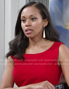 Hilary's red sheath dress on The Young and the Restless