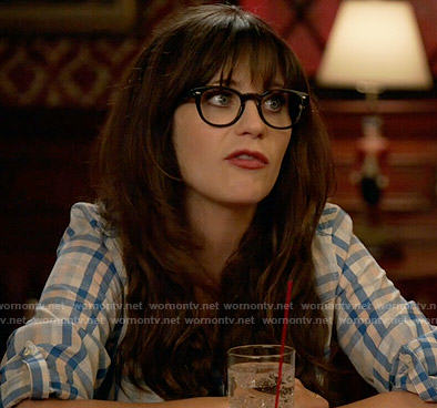 Jess's blue checked shirt on New Girl
