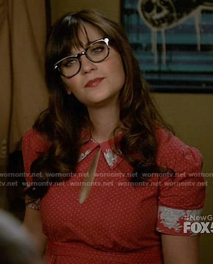 Jess's red dotted dress with floral collar on New Girl