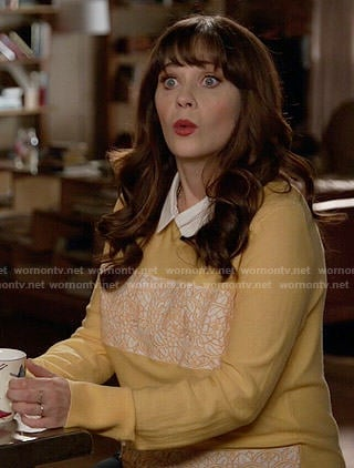 Jess's yellow embroidered panel sweater on New Girl