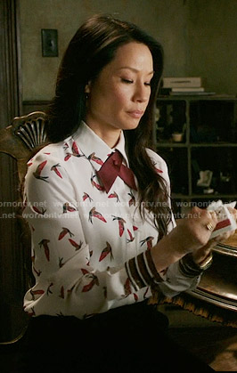 Joan's bird print blouse on Elementary