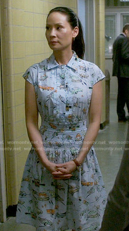 Joan's blue car print shirtdress on Elementary