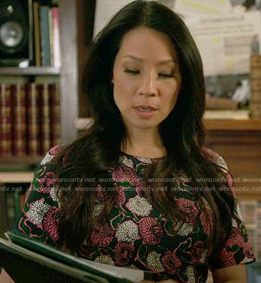 Joan's green and pink floral dress on Elementary