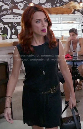 Jo's black dress with leather shoulders on Girlfriends Guide to Divorce