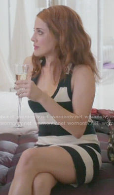 Jo's black and white striped tank dress on Girlfriends Guide to Divorce