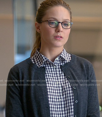 Kara's gingham checked shirt and grey cardigan on Supergirl