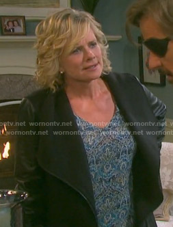 Kayla's blue printed v-neck blouse on Days of our Lives