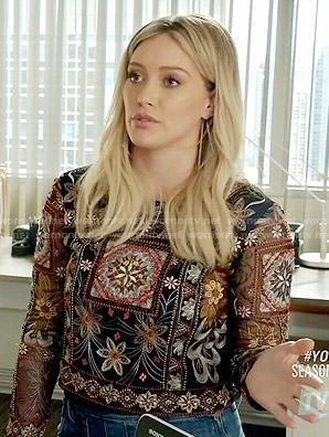 Kelsey's sheer embroidered top on Younger