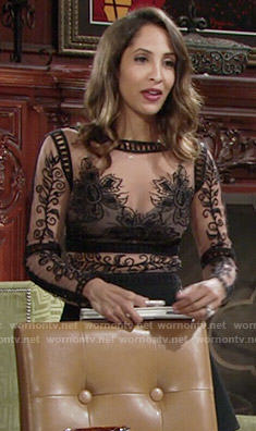 Lily's sheer black lace long sleeve top on The Young and the Restless