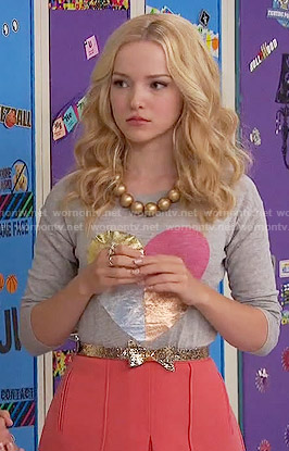 Liv's metallic heart sweater on Liv and Maddie