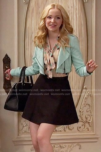 Liv's polka dot tie neck top and mint cropped jacket on Liv and Maddie