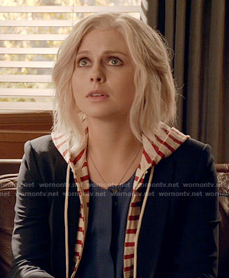 Liv's red striped hoodie and blazer combo on iZombie