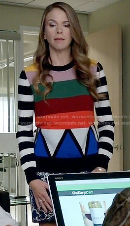 Liza's multi colored striped sweater on Younger