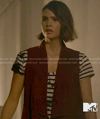 Malia's striped and splatter print tee and red vest on Teen Wolf