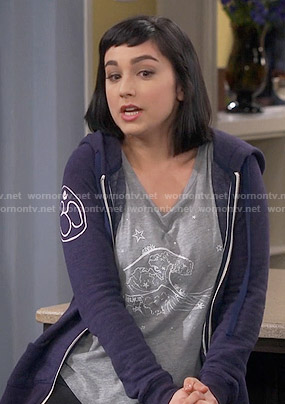 Mandy's Aquarius graphic top and blue hoodie on Last Man Standing