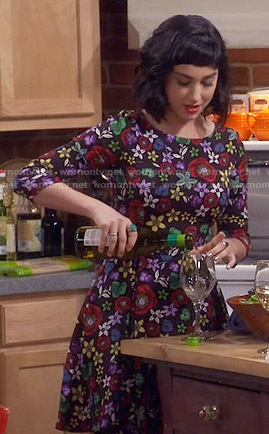 Mandy's multi colored floral dress on Last Man Standing