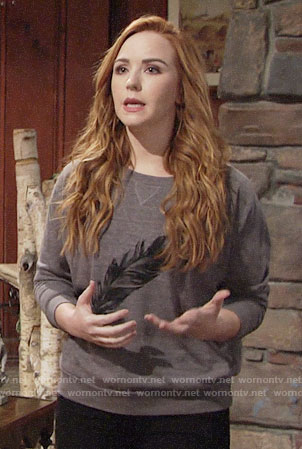 Mariah's feather print sweatshirt on The Young and the Restless