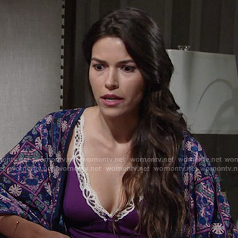 Marisa's purple chemise and printed kimono on The Young and the Restless