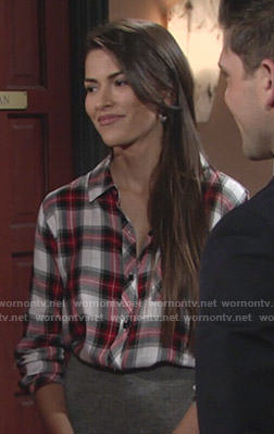 Marisa's red and white plaid shirt on The Young and the Restless