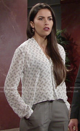Marisa's white square printed blouse on The Young and the Restless