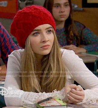 Maya's white lace cuff top on Girl Meets World