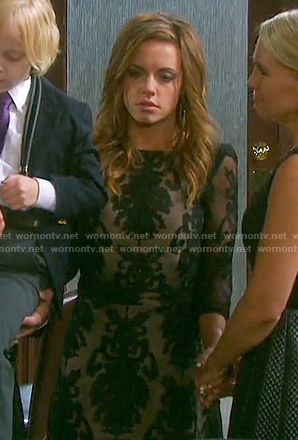 Melanie's black lace backless maxi dress on Days of our Lives