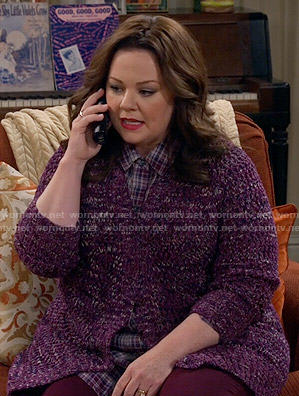 Molly's purple cardigan and plaid shirt on Mike and Molly