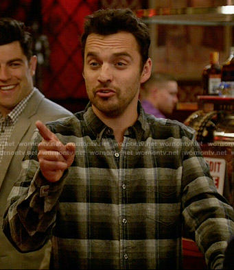 Nick's grey and blue flannel shirt on New Girl