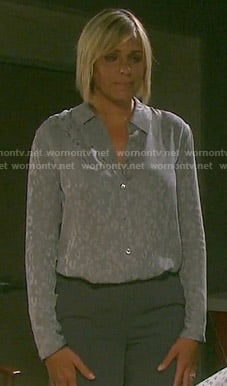 Nicole's grey leopard print shirt on Days of our Lives