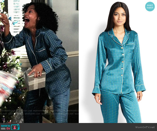 Olivia von Halle Printed Silk Pajamas in Valentina worn by Rainbow Johnson (Tracee Ellis Ross) on Blackish