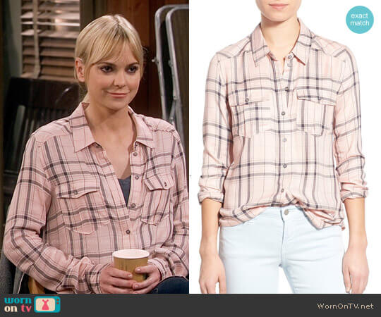 Paige Mya Plaid Shirt in Rosette Steel Grey worn by Christy Plunkett (Anna Faris) on Mom