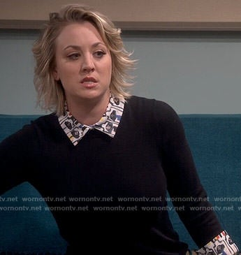 Penny's black layered sweater on The Big Bang Theory