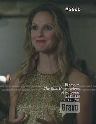 Phoebe's gold mini dress on Girlfriends Guide to Divorce