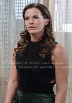Chelsea's black cutout top and green leather skirt on The Young and the Restless